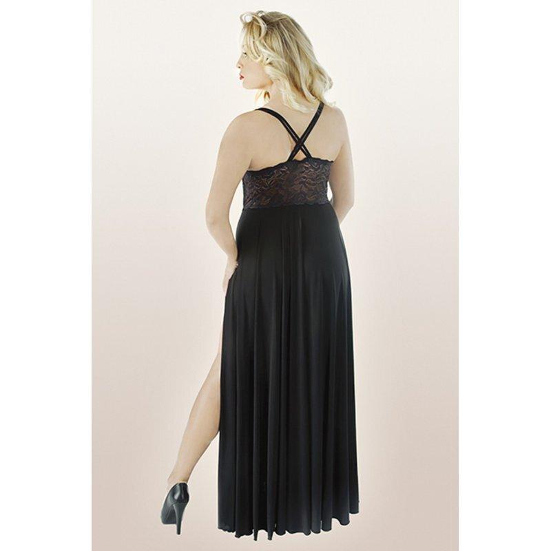 Langes (Nacht) -Kleid mit Seitenschlitz, bis. Gr. 54/56 46 ...